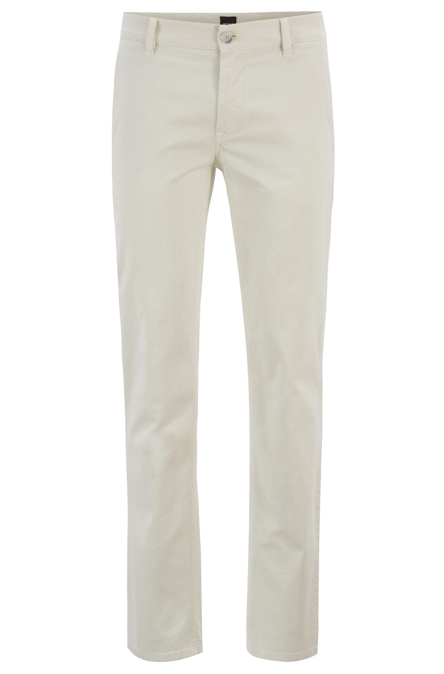 Chino casual Slim Fit en coton stretch brossé, Beige clair