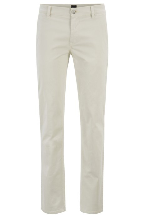Chino casual Slim Fit en coton stretch brossé, Beige clair