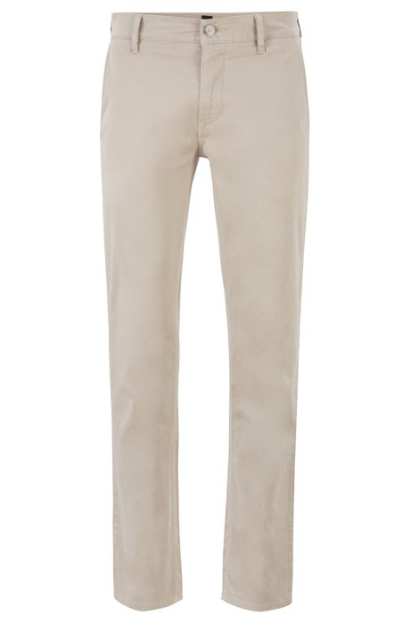 Chino casual Slim Fit en coton stretch brossé, Beige