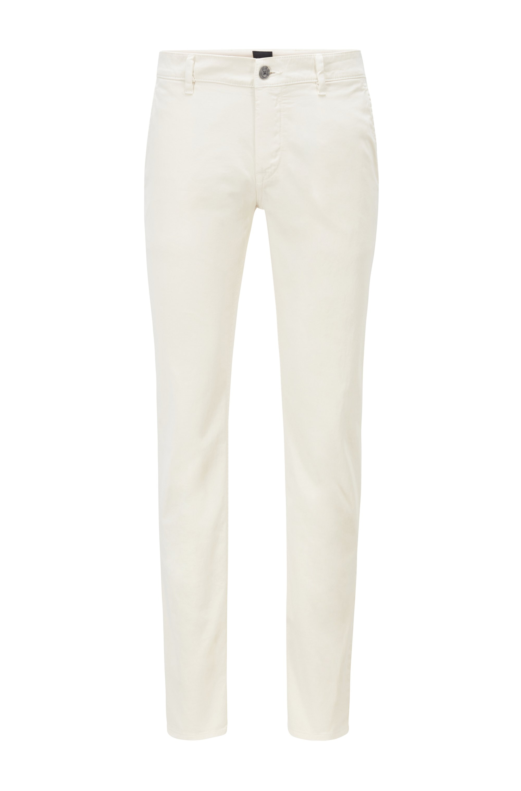 Slim-fit casual chinos in brushed stretch cotton, White