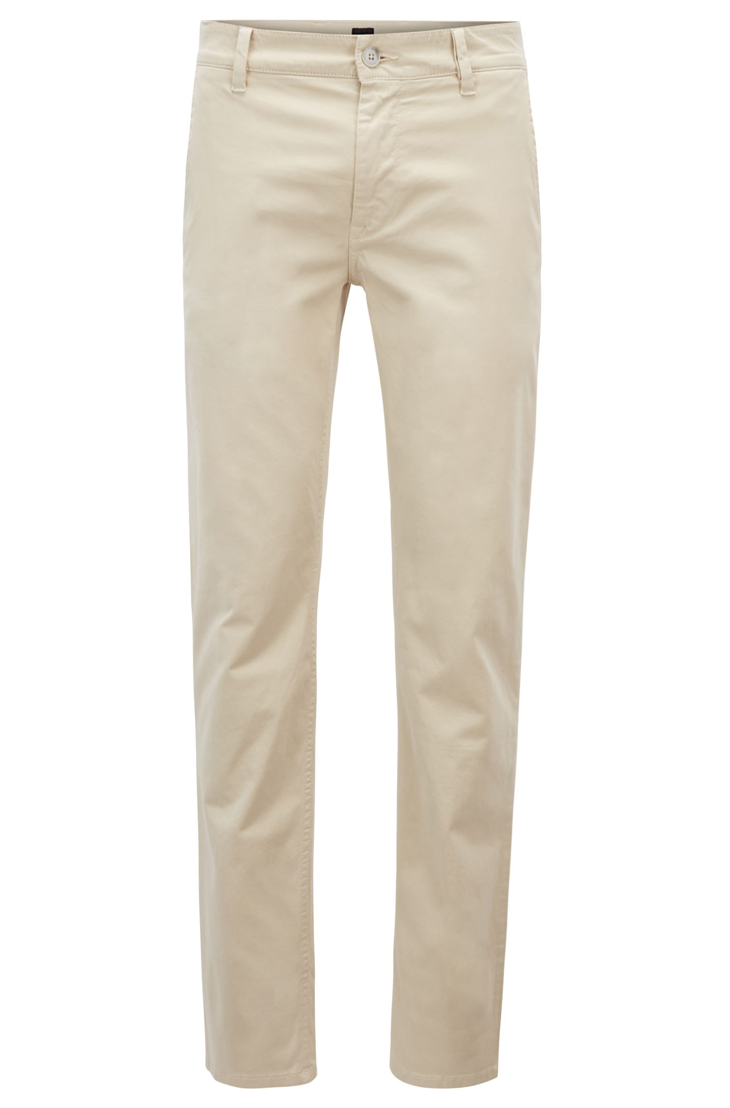 Slim-fit casual chinos in brushed stretch cotton