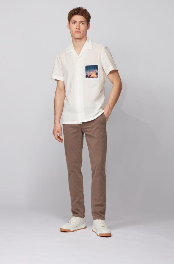 Chino casual slim fit in cotone elasticizzato spazzolato