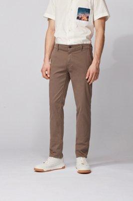 Chino casual slim fit in cotone elasticizzato spazzolato, Marrone