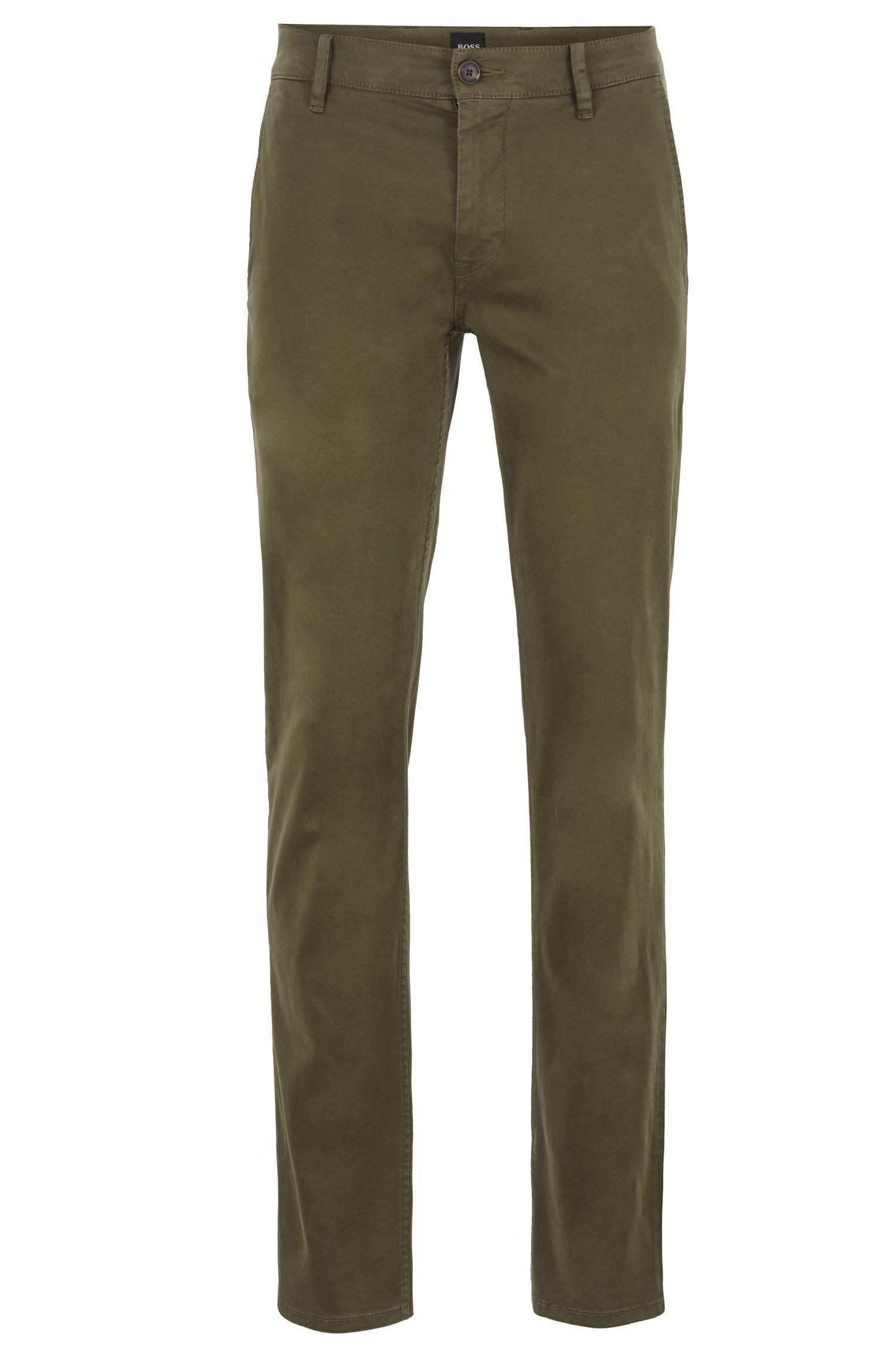 Chino casual slim fit in cotone elasticizzato spazzolato, Verde scuro