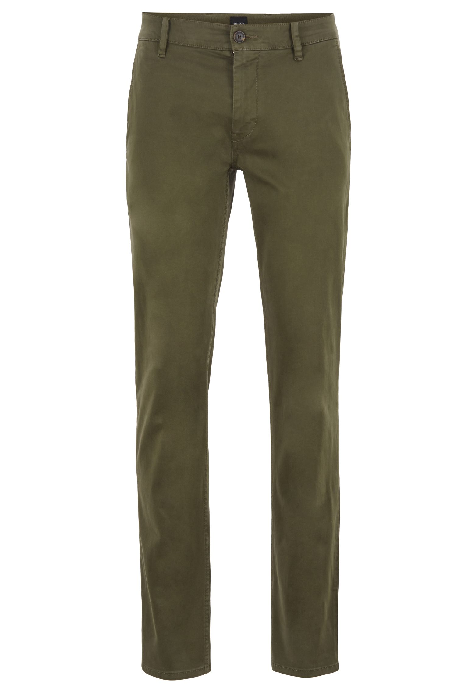 Chino casual Slim Fit en coton stretch brossé, Vert sombre