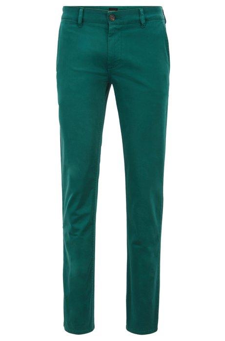 Chinos casual slim fit en algodón elástico cepillado, Verde oscuro