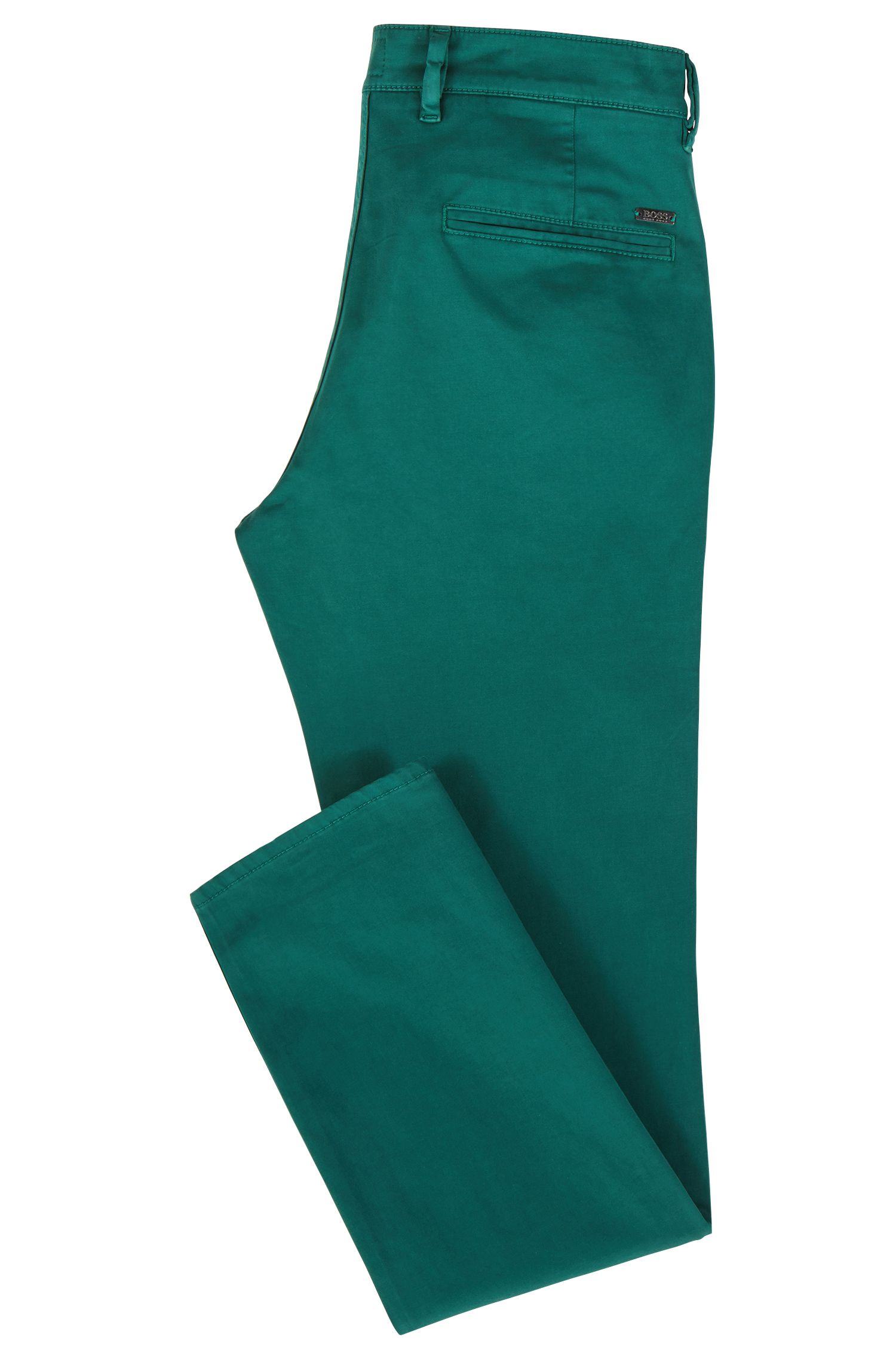 Slim-Fit Casual-Chino aus angerauter Stretch-Baumwolle, Dunkelgrün