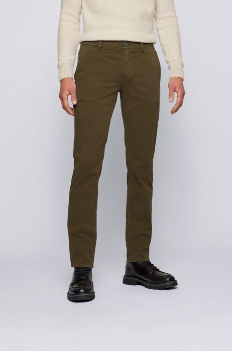 Slim-fit casual chinos in brushed stretch cotton, Dark Green