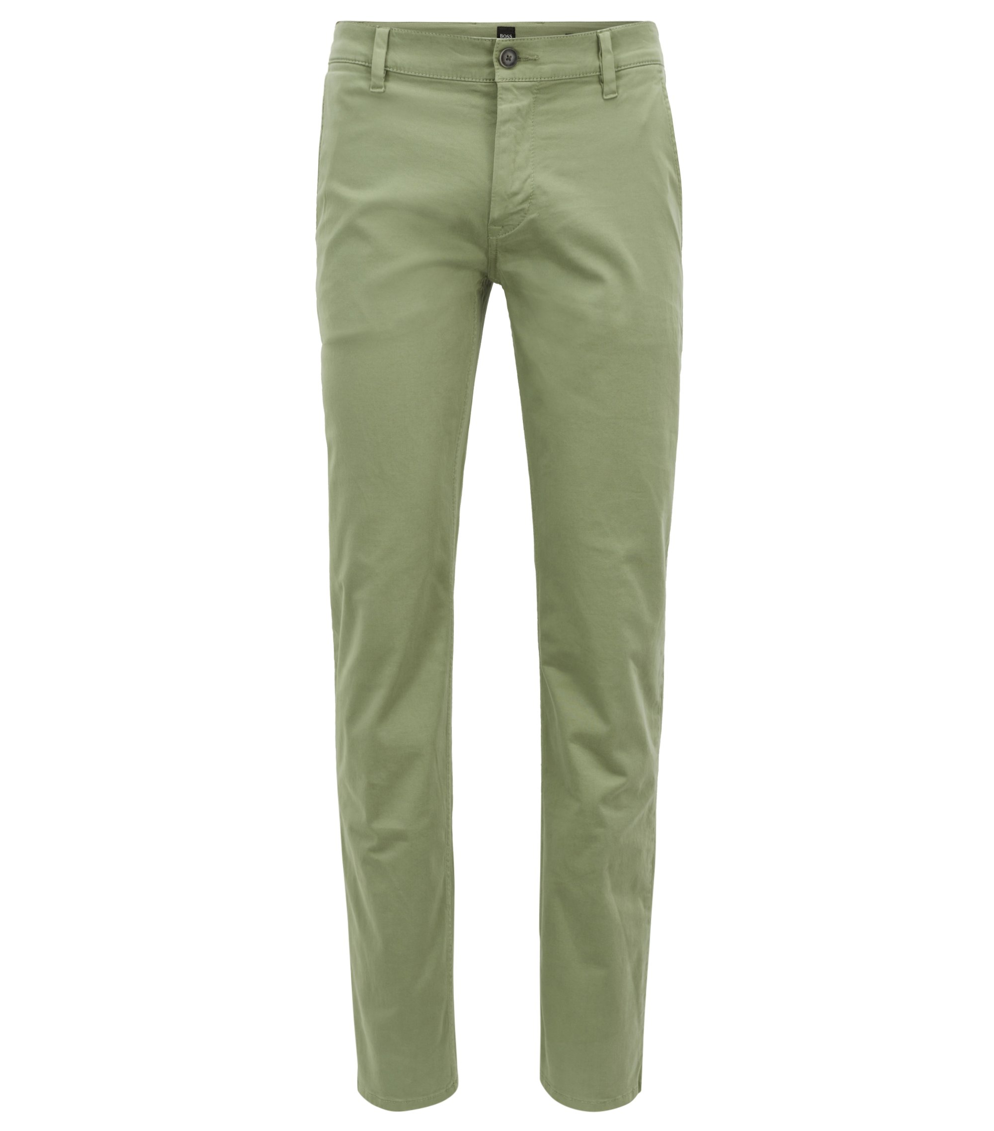 Slim-Fit Casual-Chino aus angerauter Stretch-Baumwolle, Hellgrün