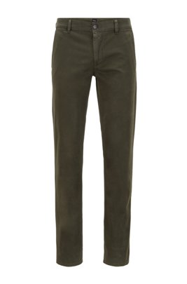 Slim-Fit Casual-Chino aus angerauter Stretch-Baumwolle, Dunkelgrün