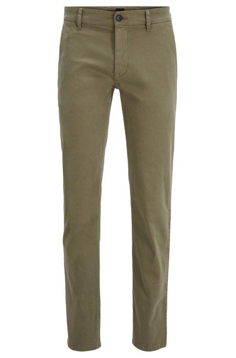 Chino casual Slim Fit en coton stretch brossé, Vert