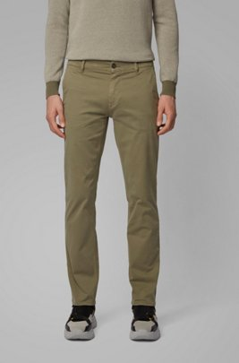 Slim-Fit Casual-Chino aus angerauter Stretch-Baumwolle, Grün