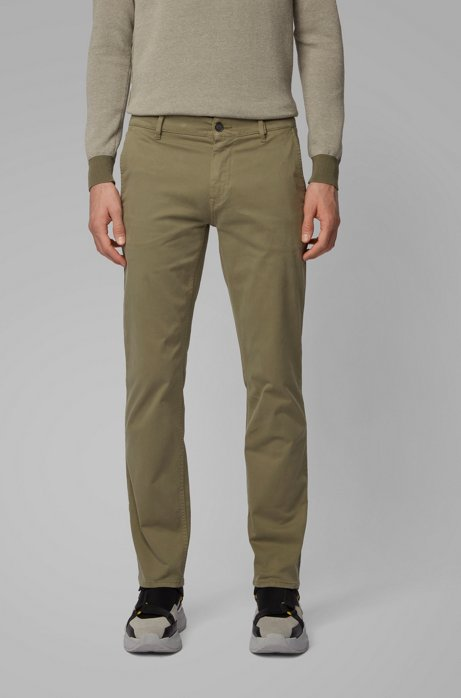 Slim-fit casual chinos in brushed stretch cotton, Green