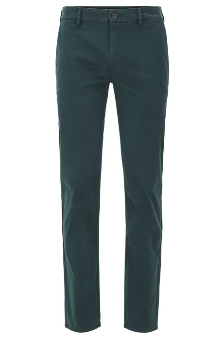 Chino casual Slim Fit en coton stretch brossé, Vert