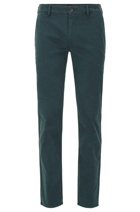 Chinos casual slim fit en algodón elástico cepillado, Verde