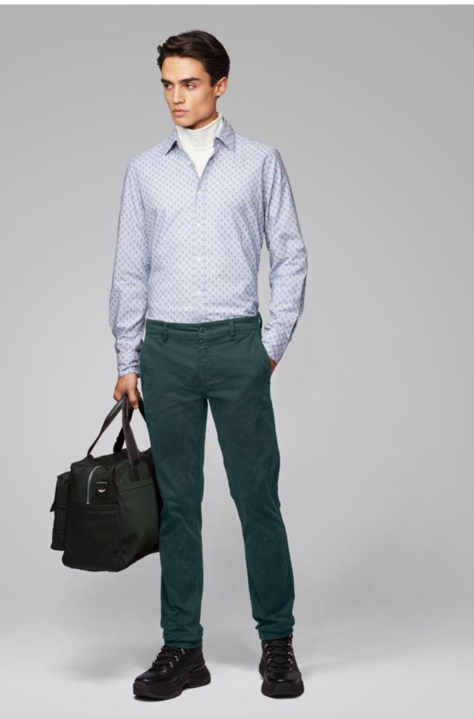 Slim-Fit Casual-Chino aus angerauter Stretch-Baumwolle