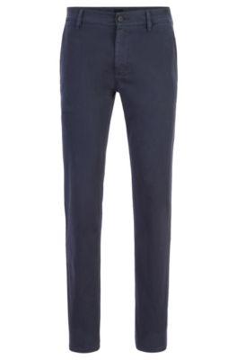 Chinos casual slim fit de algodón elástico cepillado, Azul oscuro