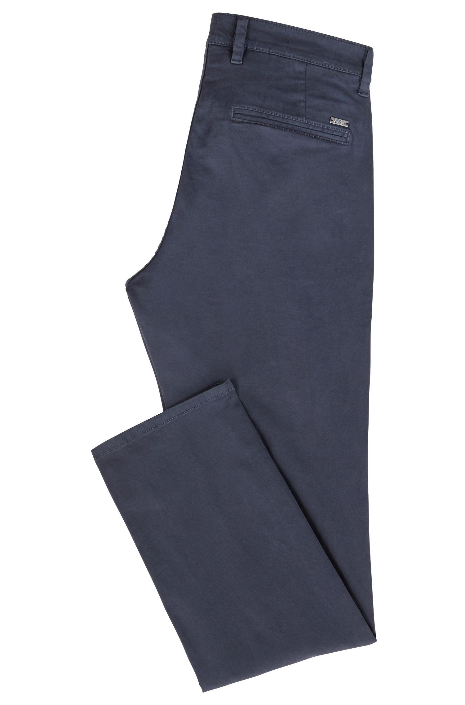 Chino casual Slim Fit en coton stretch brossé, Bleu foncé