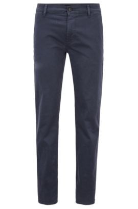 Slim-fit trousers in stretch cotton, Dark Blue