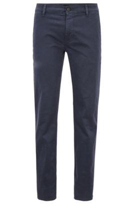 Pantaloni slim fit in cotone elasticizzato, Blu scuro