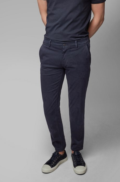 Slim-Fit Casual-Chino aus angerauter Stretch-Baumwolle, Dunkelblau