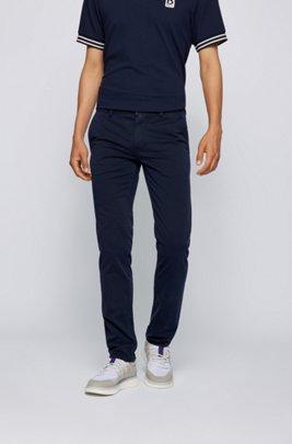 Chino casual slim fit in cotone elasticizzato spazzolato, Blu scuro