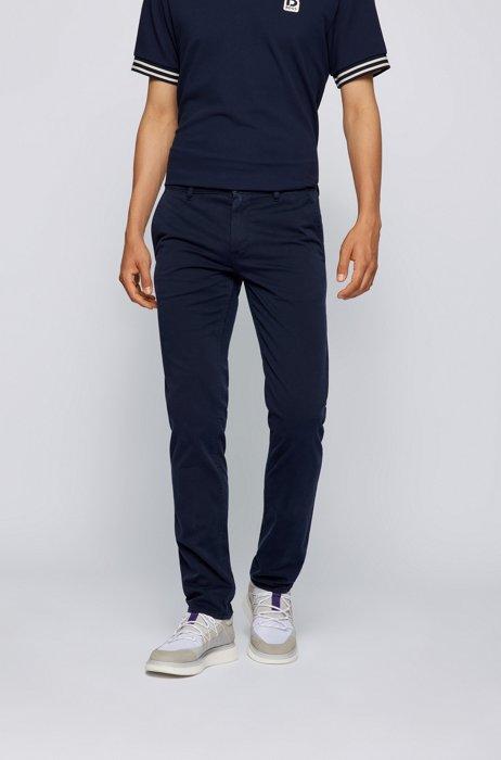 Slim-fit casual chino van geborstelde stretchkatoen, Donkerblauw