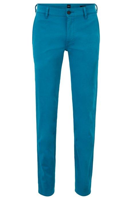 Chinos casual slim fit en algodón elástico cepillado, Azul oscuro