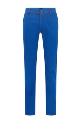 Slim-fit casual chinos in brushed stretch cotton, Blue