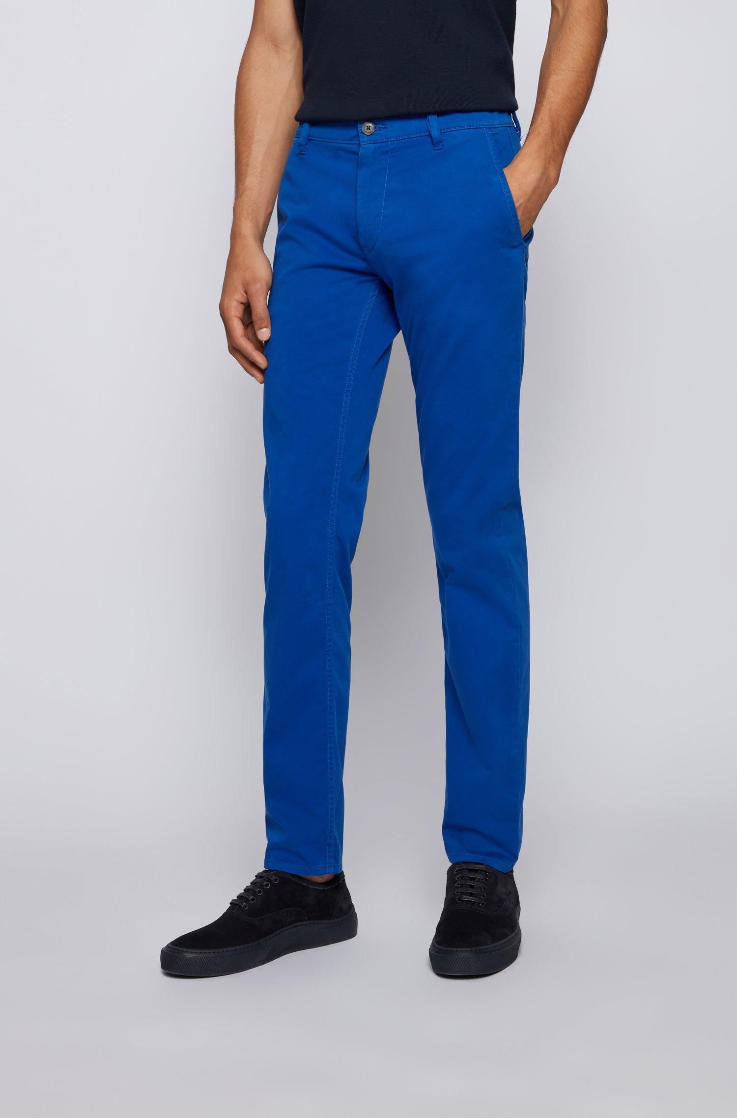 Chino casual Slim Fit en coton stretch brossé, Bleu