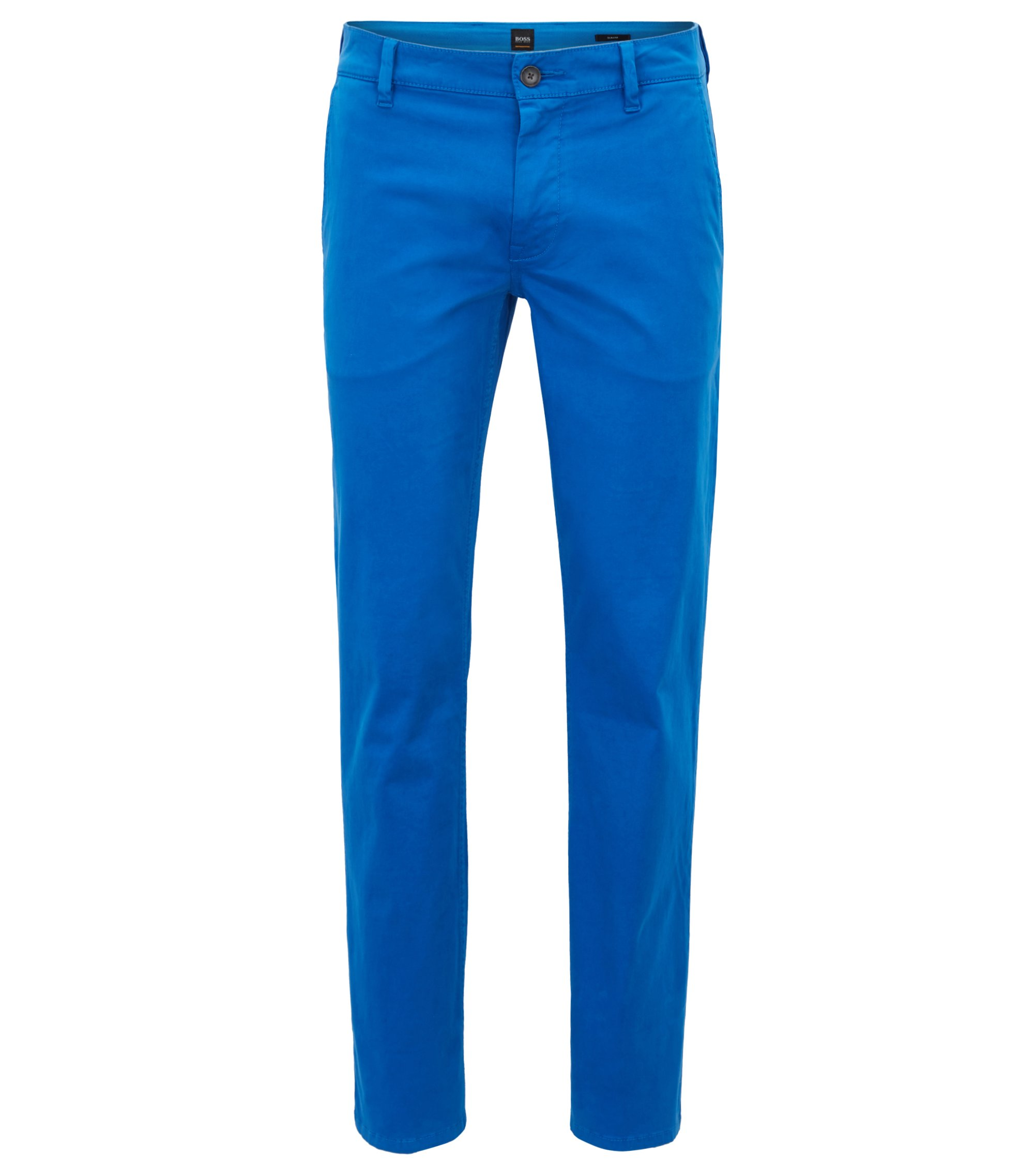 Chino casual Slim Fit en coton stretch brossé, Bleu