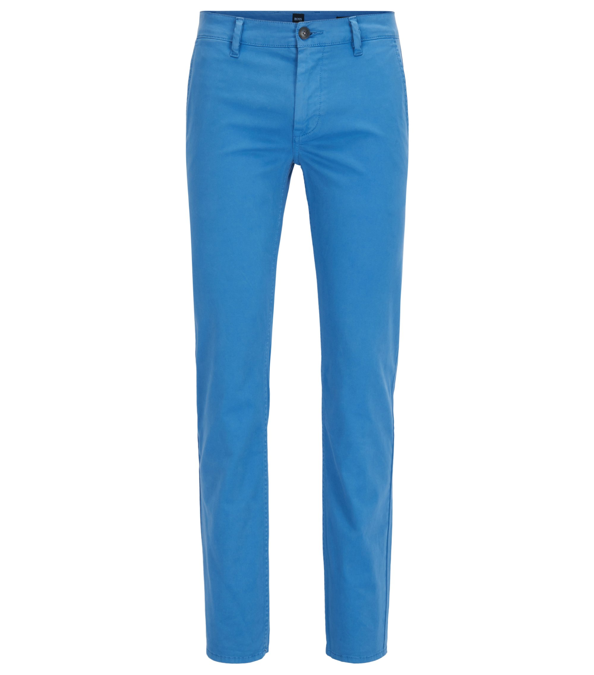 Slim-fit trousers in stretch cotton, Blue