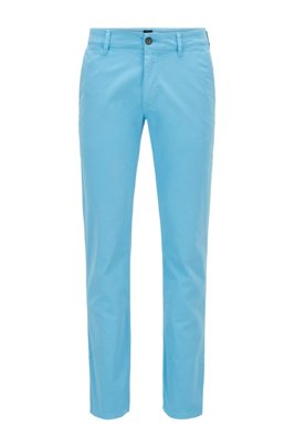 Slim-fit casual chinos in brushed stretch cotton, Turquoise