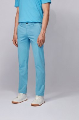Chino casual Slim Fit en coton stretch brossé, Turquoise