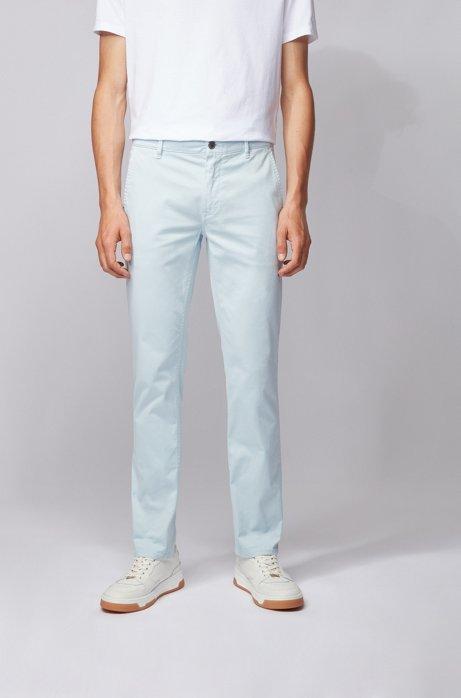 Chino casual Slim Fit en coton stretch brossé, Bleu vif