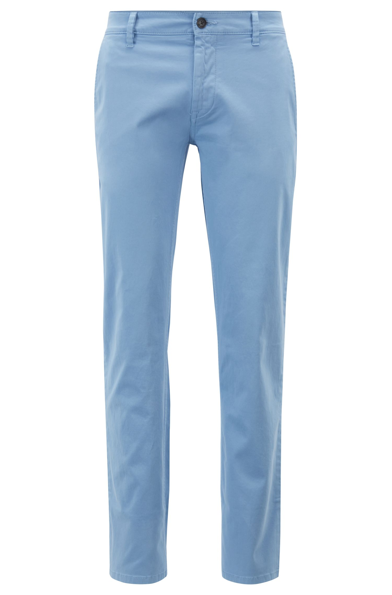 Slim-Fit Casual-Chino aus angerauter Stretch-Baumwolle, Hellblau