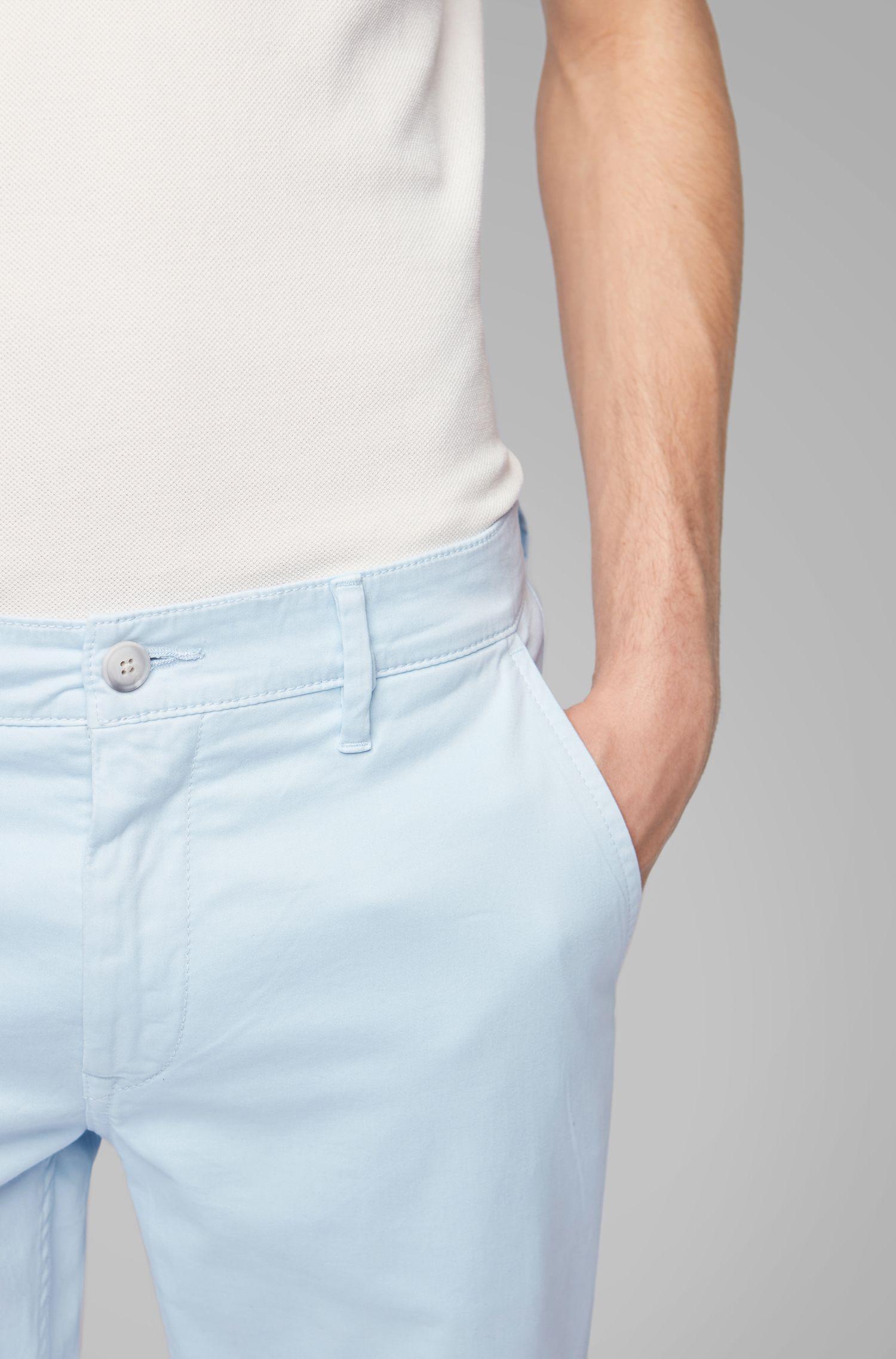Slim-Fit Casual-Chino aus angerauter Stretch-Baumwolle, Hellblau