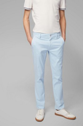 Chino casual Slim Fit en coton stretch brossé, bleu clair