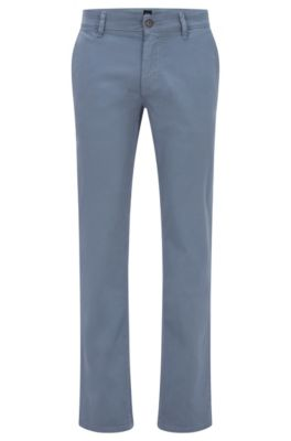 Chinos casual slim fit en algodón elástico cepillado, Azul