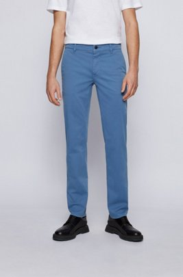 Chino casual Slim Fit en coton stretch brossé, bleu clair