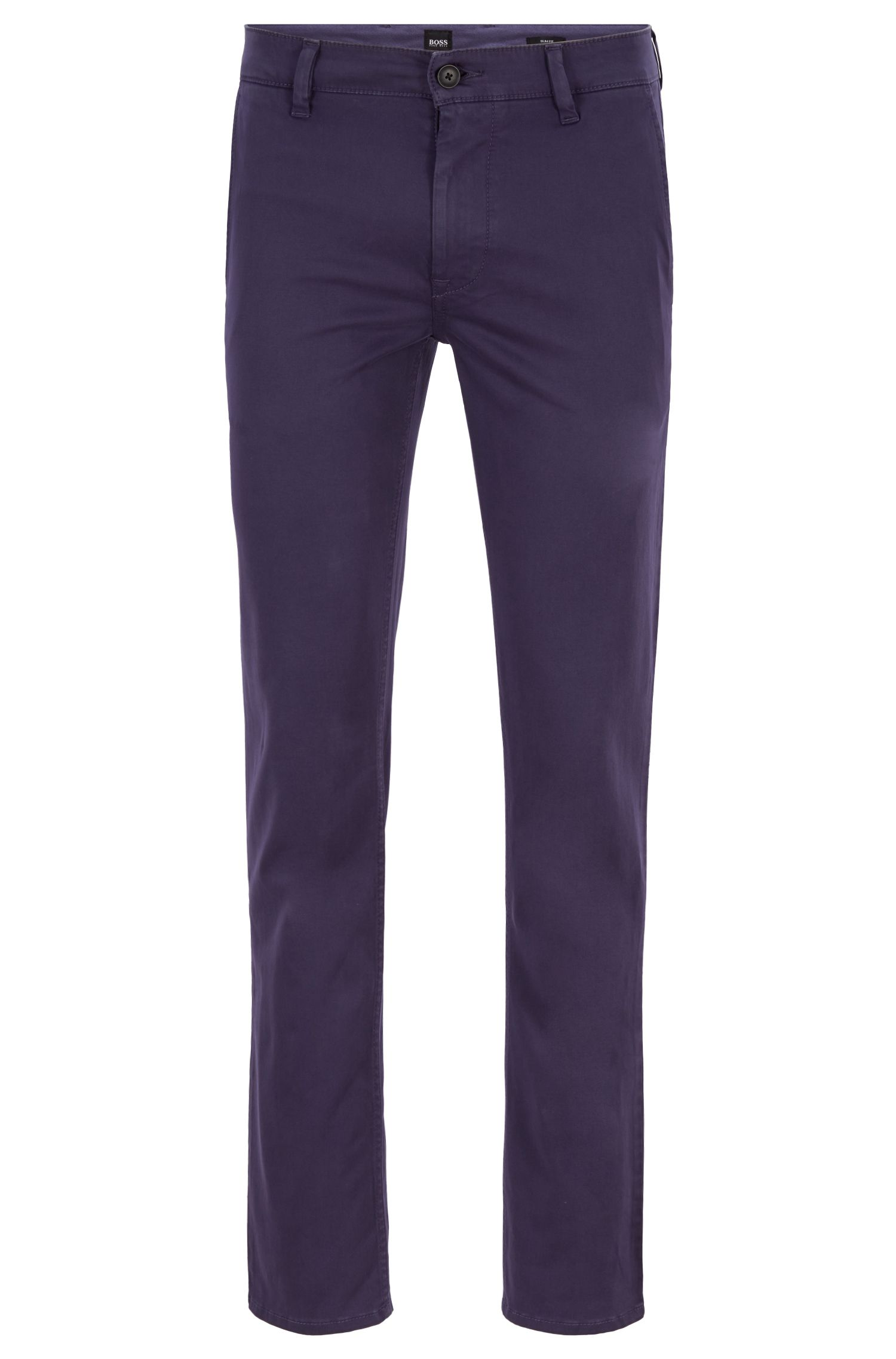 Slim-Fit Casual-Chino aus angerauter Stretch-Baumwolle, Blau