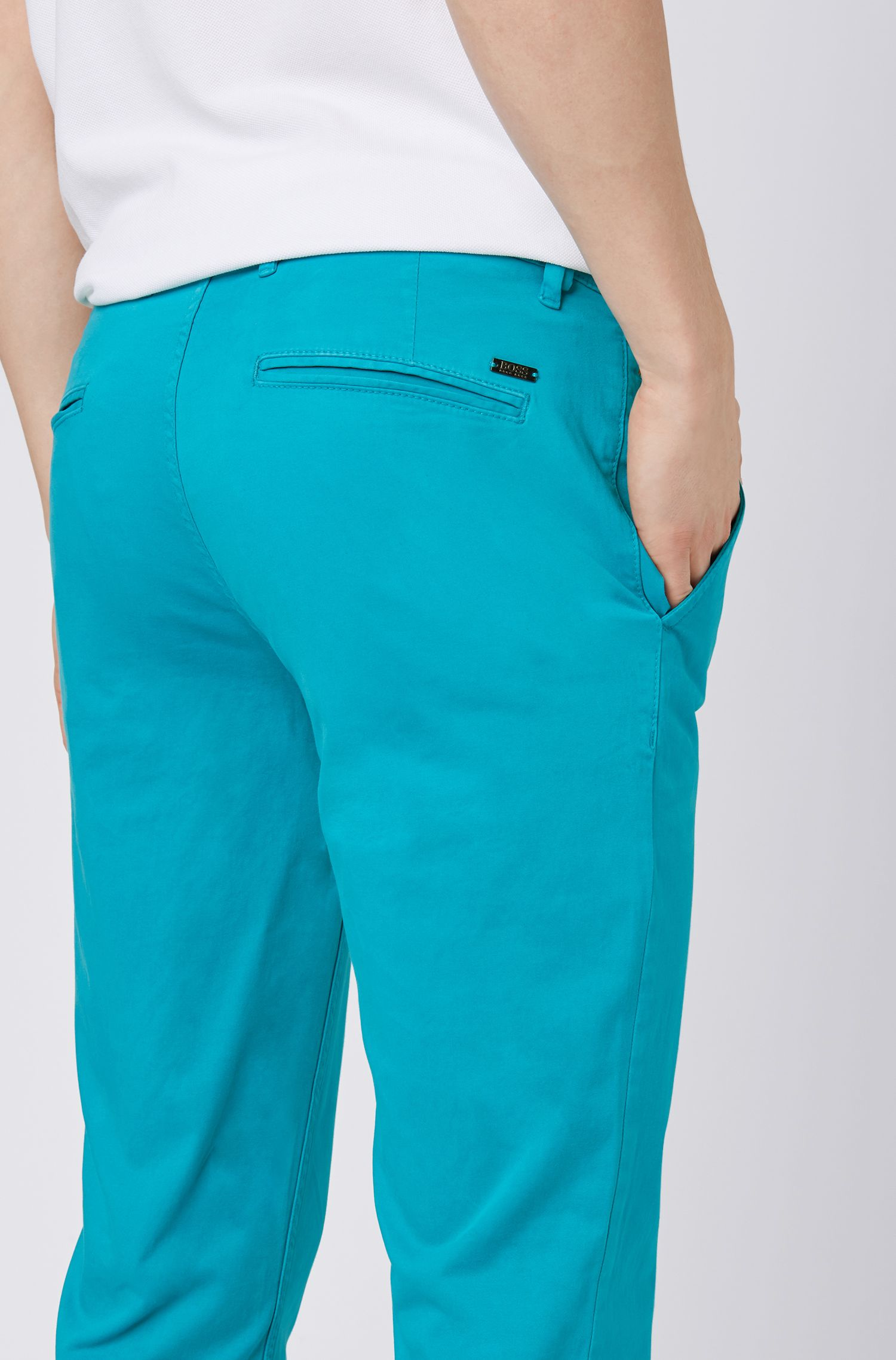 Slim-fit casual chino van geborstelde stretchkatoen, Turkoois