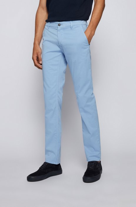 Slim-fit chinos in brushed stretch cotton, Light Blue