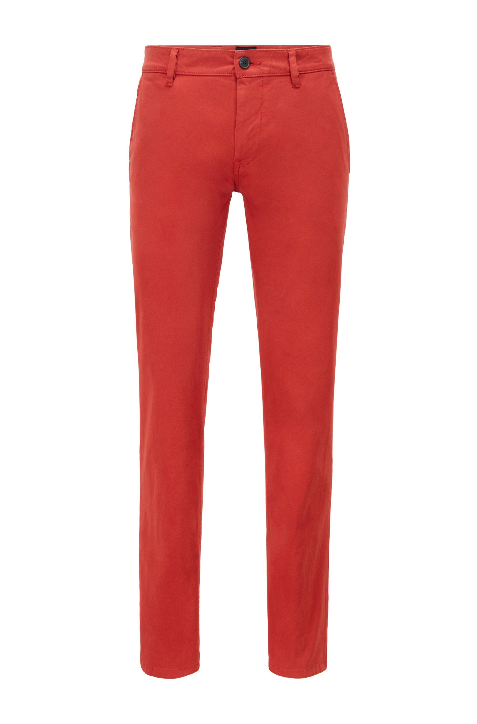 Chino casual Slim Fit en coton stretch brossé, Rouge