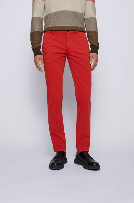 Slim-fit casual chinos in brushed stretch cotton, Red