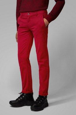 Slim-fit casual chino van geborstelde stretchkatoen, Rood