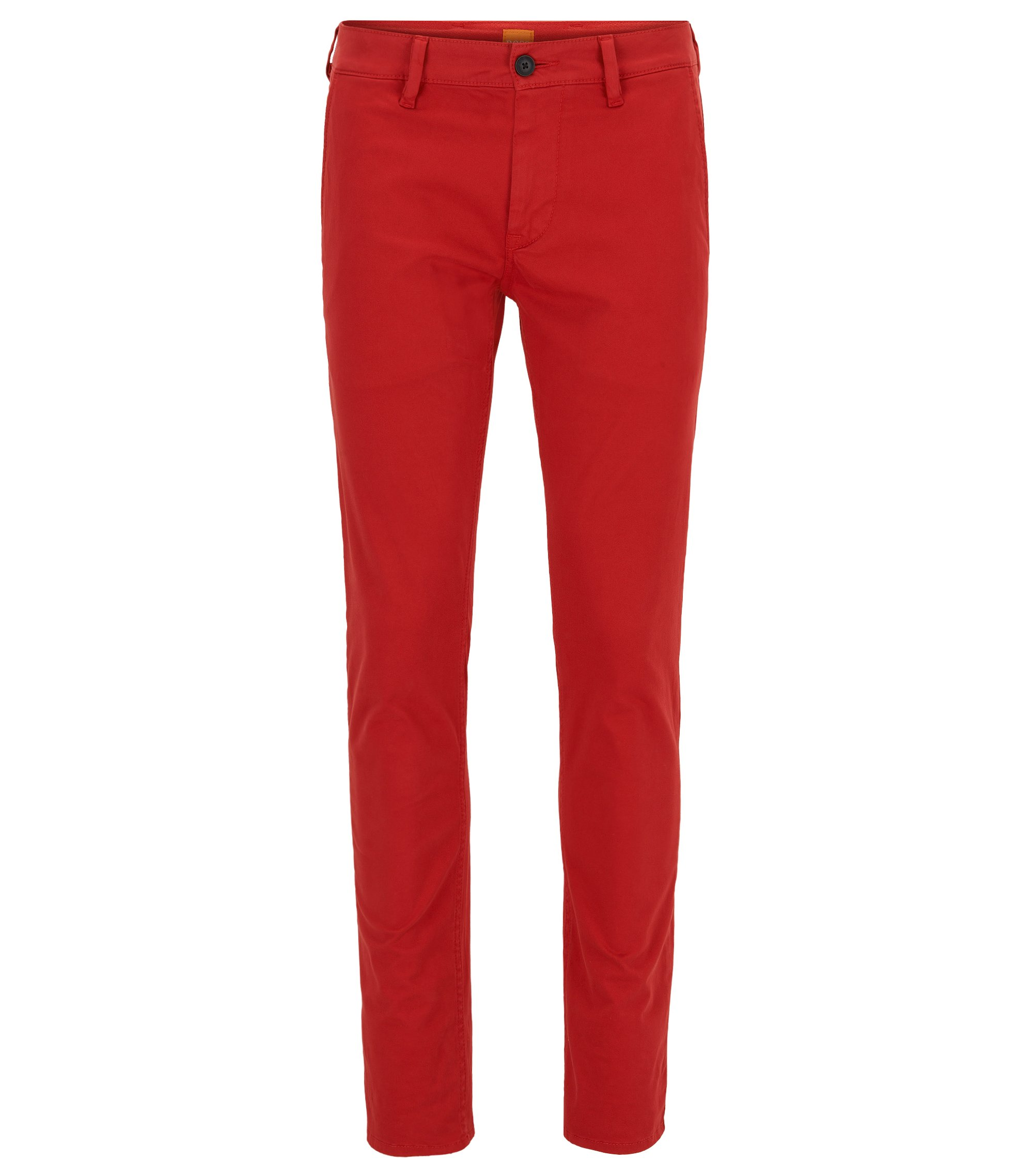 Chino casual Slim Fit en coton stretch brossé, Rouge