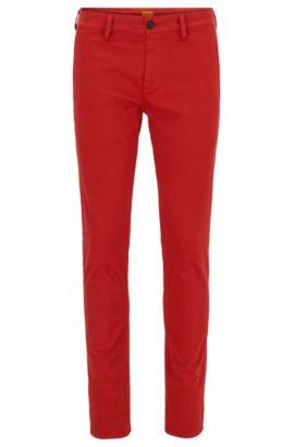 Slim-fit broek van stretchkatoen, Rood