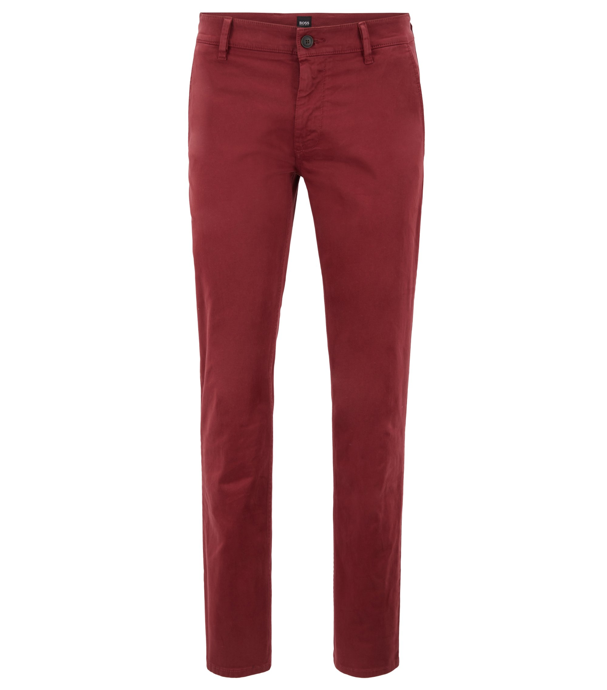Slim-fit casual chino van geborstelde stretchkatoen, Donkerrood