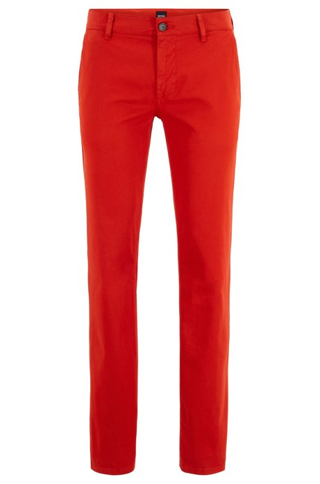 Slim-Fit Casual-Chino aus angerauter Stretch-Baumwolle, Dunkelorange
